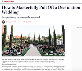 Town and Country Magazine March 2019 destination wedding