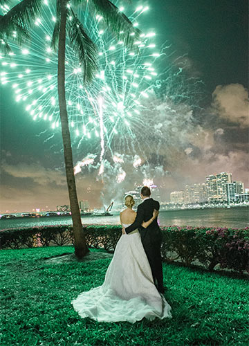 Bride and Groom Watching Fireworks